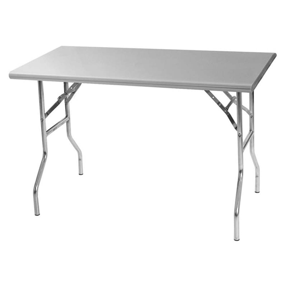 """Royal Industries ROYWTF2460 60"""" 18 ga Folding Work Table w/ 430 Series Stainless Flat Top"""