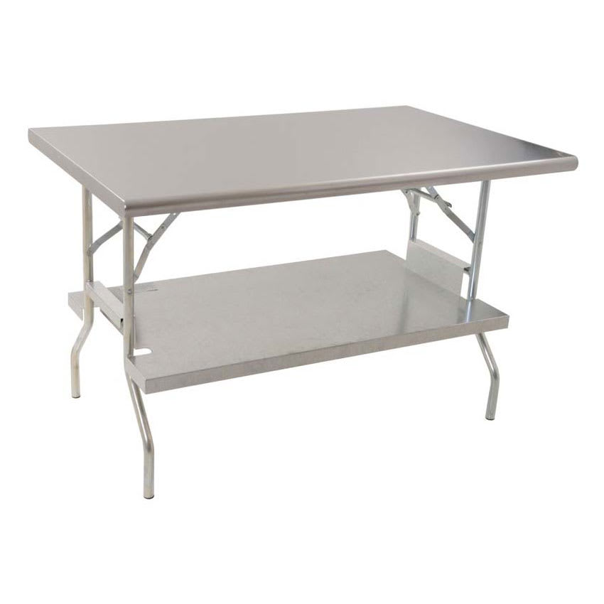 "Royal Industries ROYWTFS2460 60"" 18-ga Folding Work Table w/ Undershelf & 430-Series Stainless Flat Top"