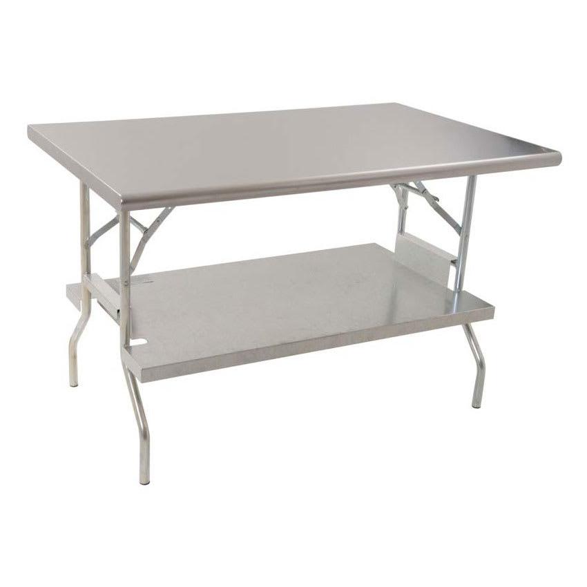 "Royal Industries ROYWTFS3072 72"" 18-ga Folding Work Table w/ Undershelf & 430-Series Stainless Flat Top"