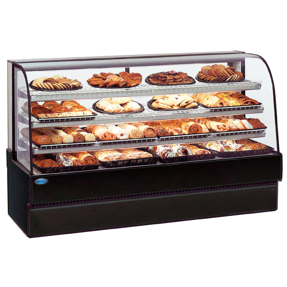 """Federal CGD7742 77"""" Full Service Bakery Case w/ Curved Glass - (3) Levels, 120v"""
