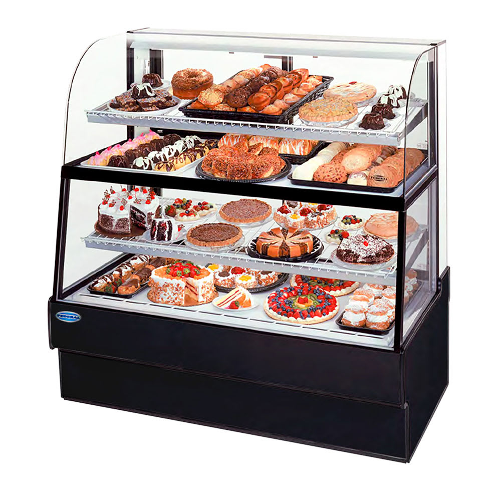 "Federal CGR5960DZH 59"" Full Service Bakery Case w/ Curved Glass - (4) Levels, 120v"