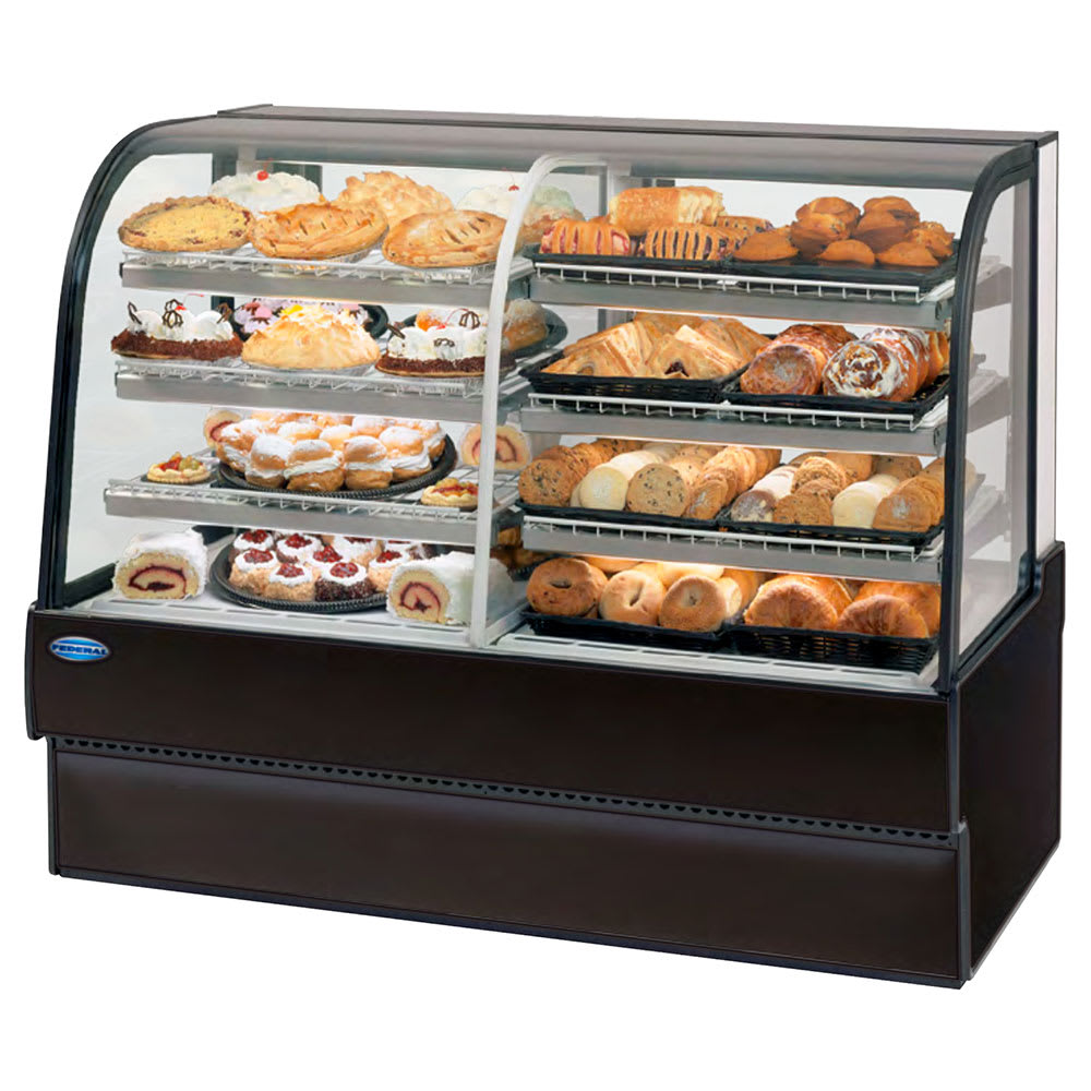 "Federal CGR7742DZ 77"" Full Service Bakery Case w/ Curved Glass - (3) Levels, 120v"