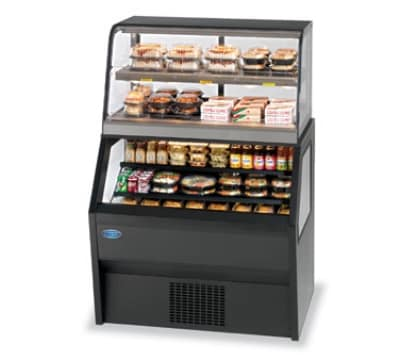 "Federal CH3628/RSS3SC 36"" Refrigerated Self-Serve Merchandiser w/ Hot Serve Top, Black"
