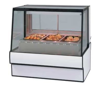 "Federal SG5948HD BLK 59"" Sloped Thermopane  Glass Hot Deli Case w/ 3-Wells, Black"