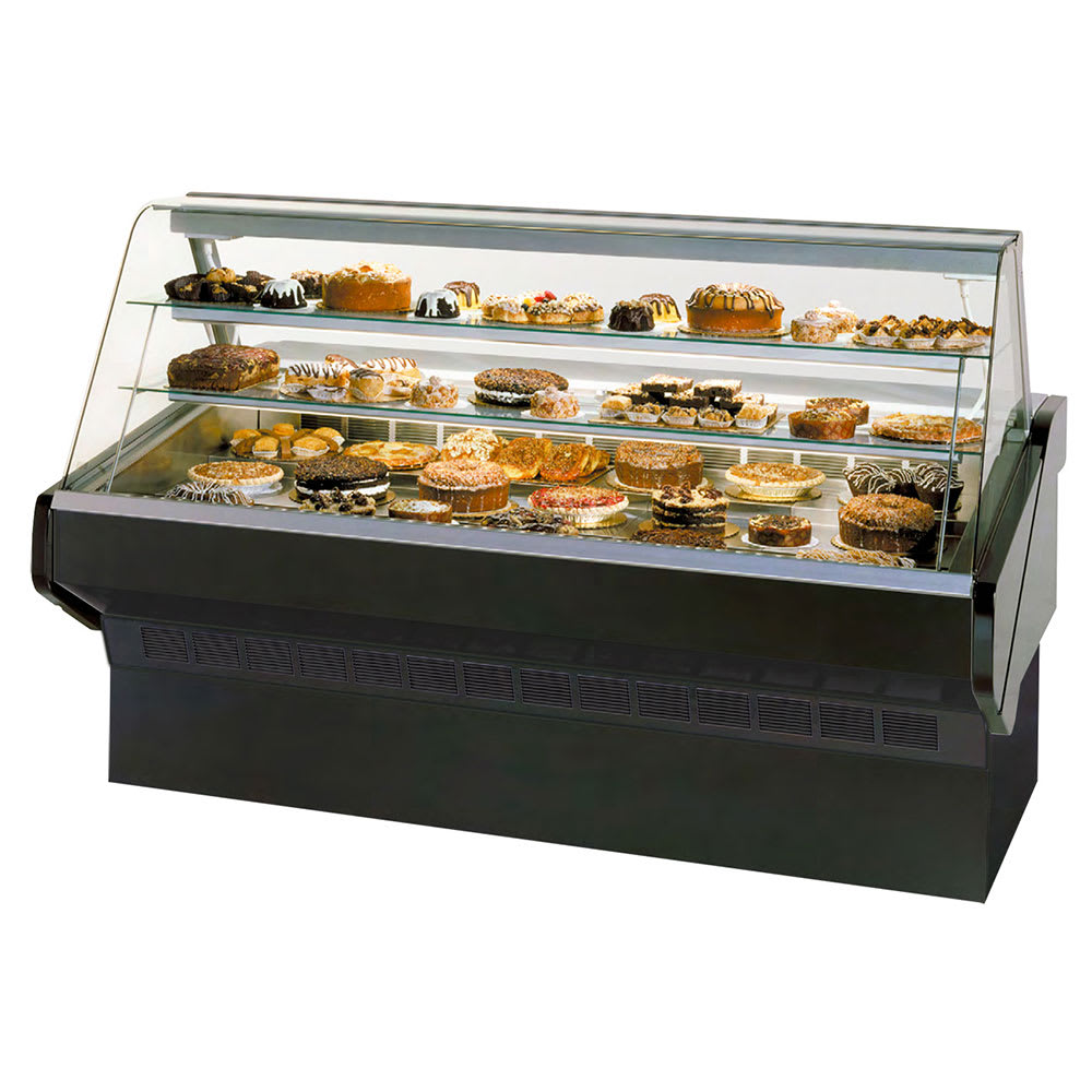 "Federal SQ-8B 96"" Full Service Bakery Case w/ Curved Glass - (3) Levels, 120v"