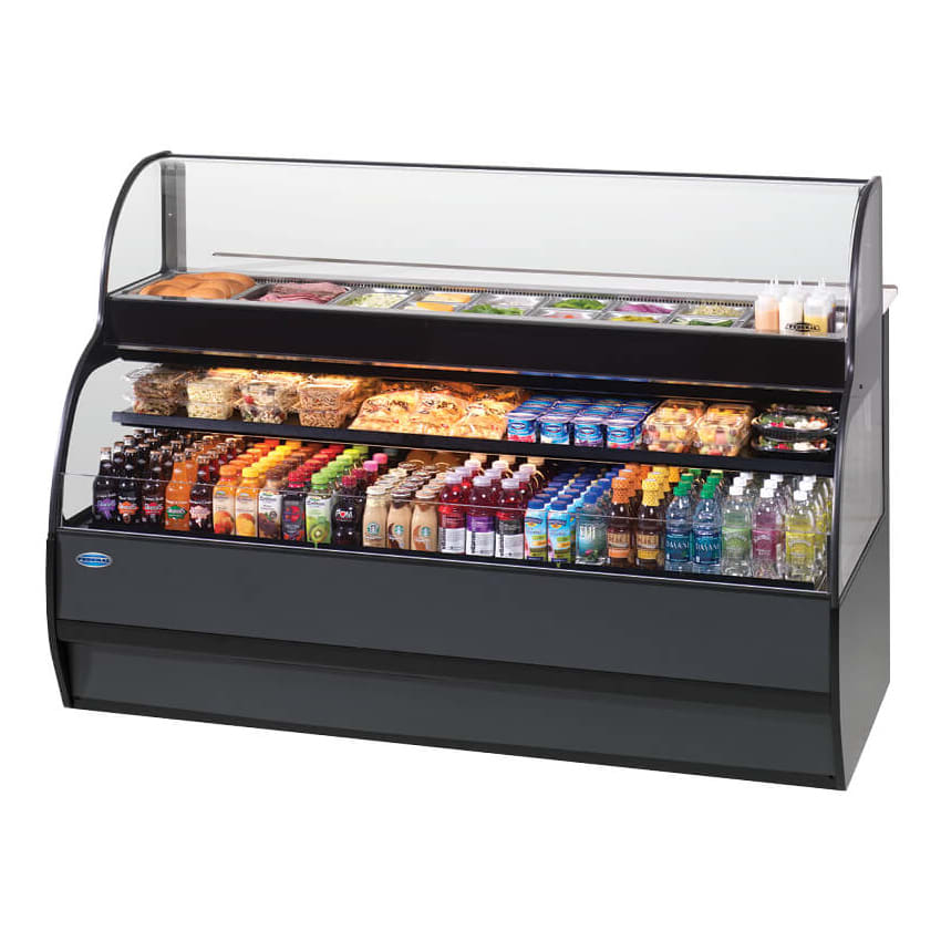 "Federal SSRSP7752 77"" Horizontal Open Air Cooler & Prep Table - (3) Levels, Black, 230v/1ph"