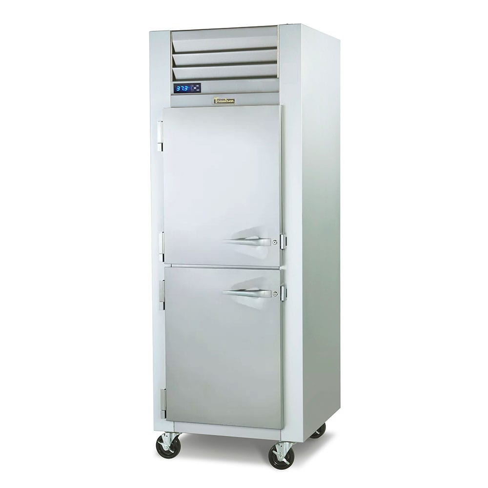 "Traulsen G10004P 29.87"" Single Section Pass-Thru Refrigerator, (2) Solid Doors, 115v"