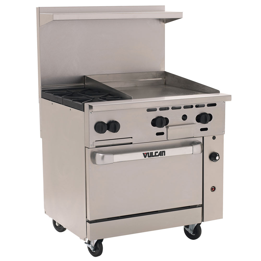 "Vulcan 36S-2B24GT 36"" 2-Burner Gas Range with Griddle, LP"
