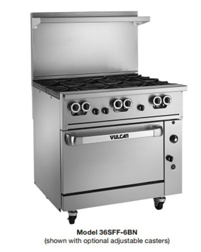 "Vulcan 36SFF-6BP 36"" 6-Burner Gas Range, LP"