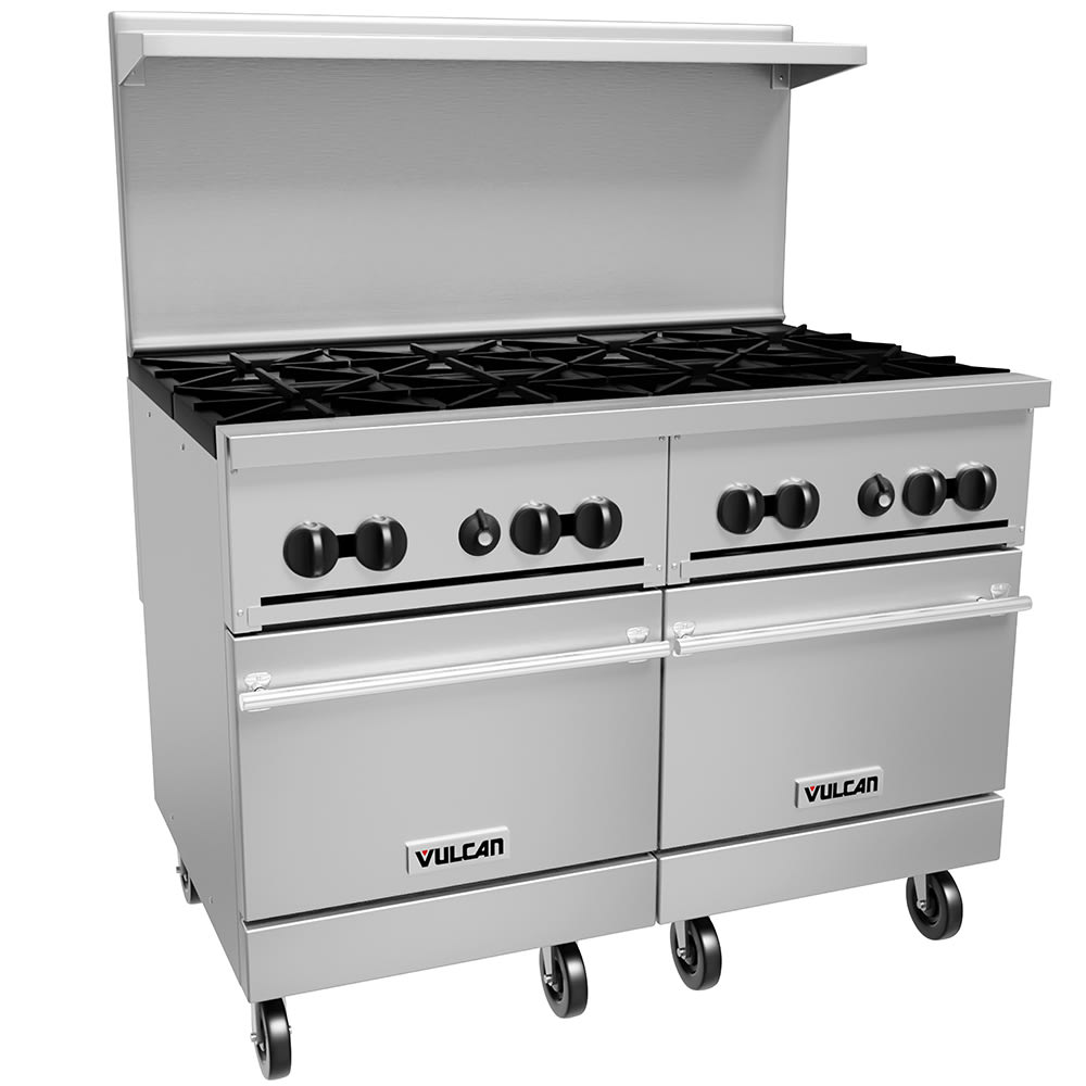 "Vulcan 48SS-8B 48"" 8-Burner Gas Range w/ (2) Standard Ovens, NG"