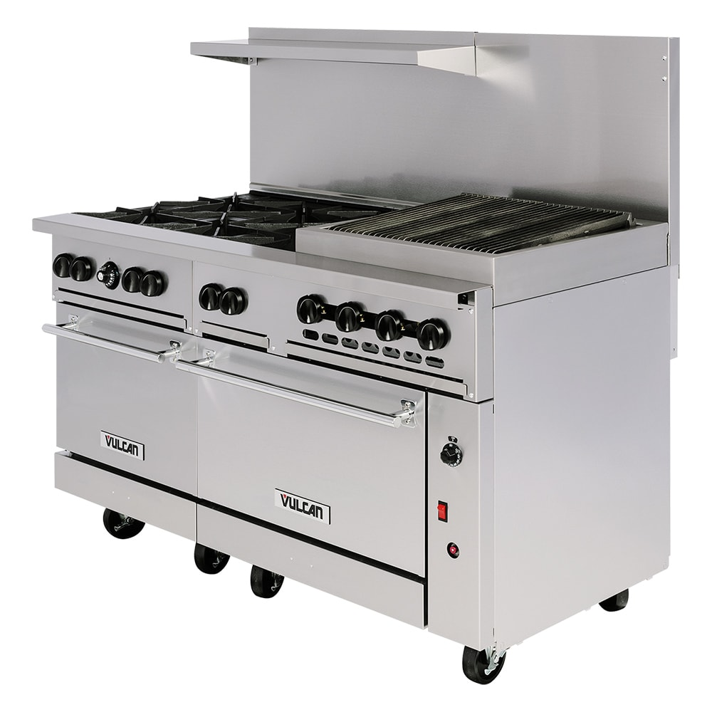 Vulcan 60sc 6b24gb 60 6 Burner Gas Range W Griddle Broiler 1 Standard 1 Convection Ovens Natural Gas