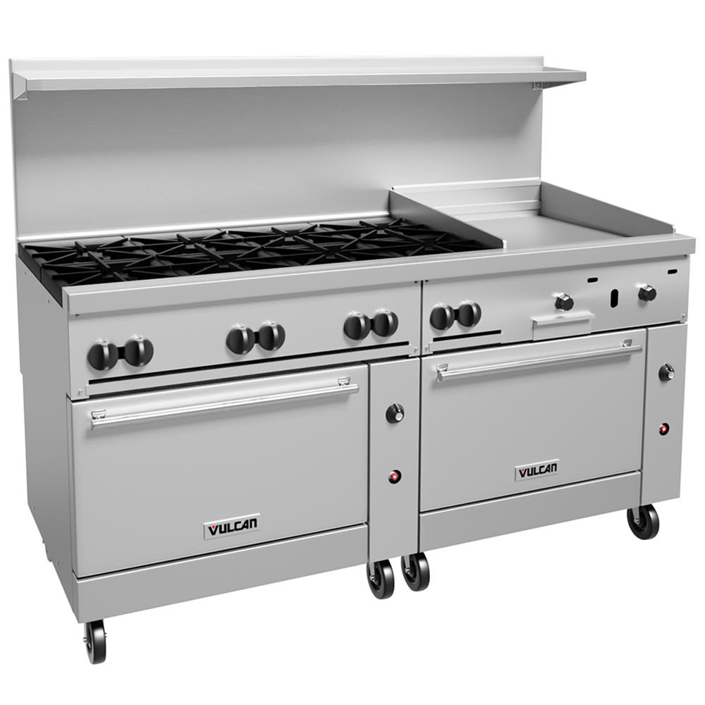"Vulcan 72SC-8B24G 72"" 8-Burner Gas Range with Griddle, LP"