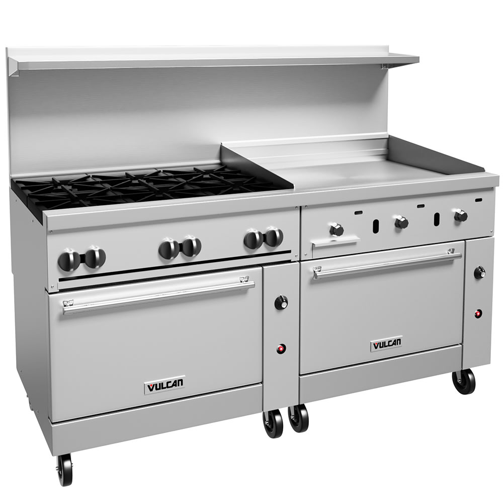 "Vulcan 72SS-6B36GT 72"" 6 Burner Gas Range with Griddle, NG"
