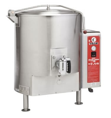 Vulcan GT100ELP Stationary Kettle w/ 100-Gallon Capacity, Spring Assisted Cover, LP