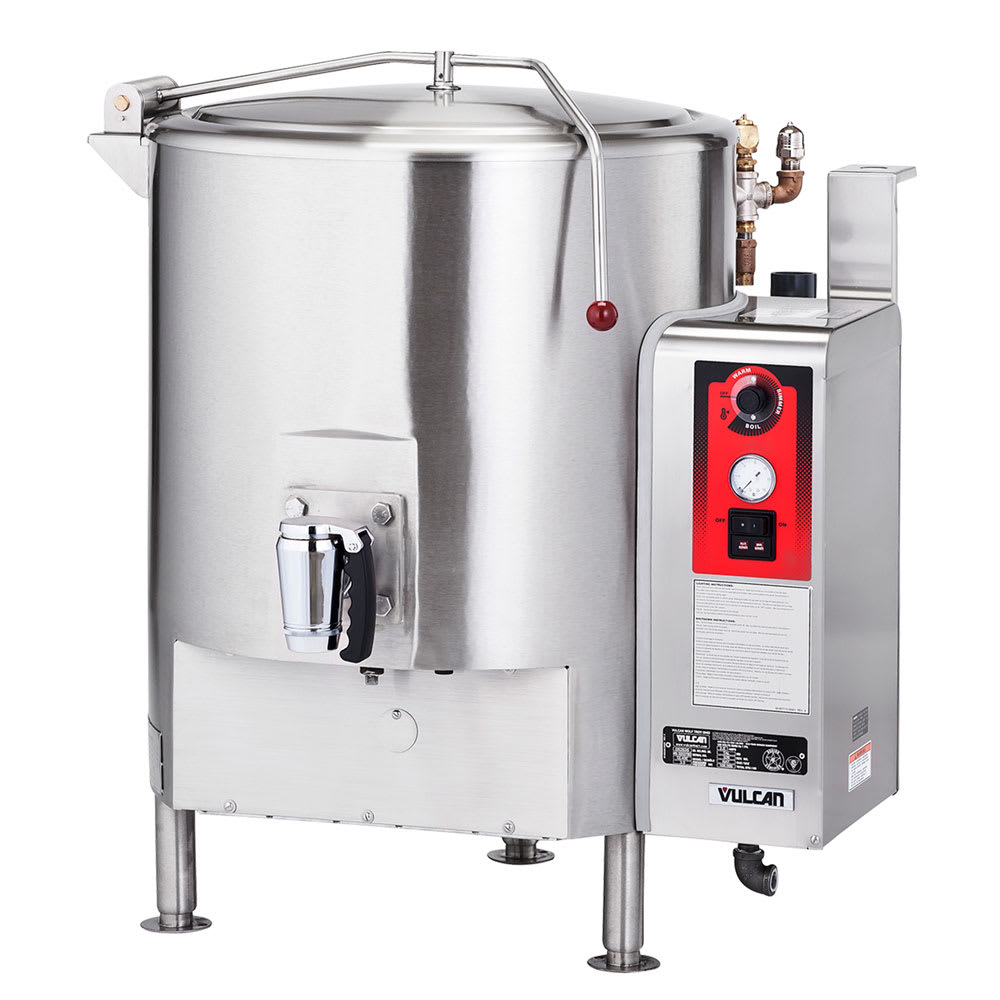 Vulcan ST150 Stationary Kettle, Fully Jacketed w/ 150-Gallon Capacity, Spring Cover