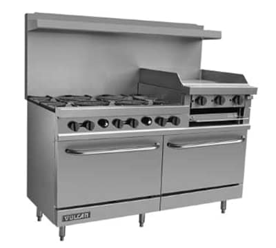 "Vulcan V260 60"" 6-Burner Gas Range with Griddle, LP"