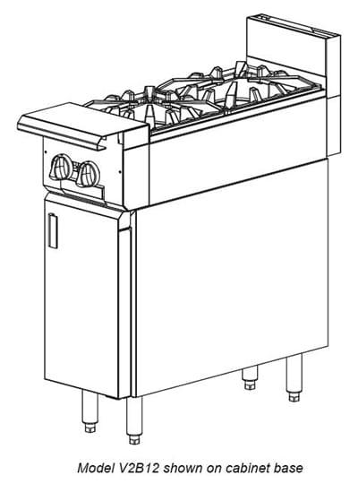 """Vulcan V2B12 12"""" 2-Burner Gas Range, LP"""