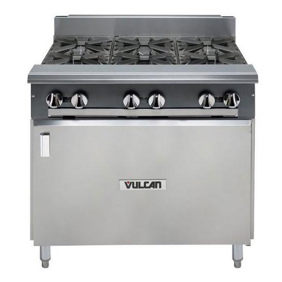 "Vulcan V6B36B 36"" 6 Burner Gas Range w/ Cabinet Base, LP"