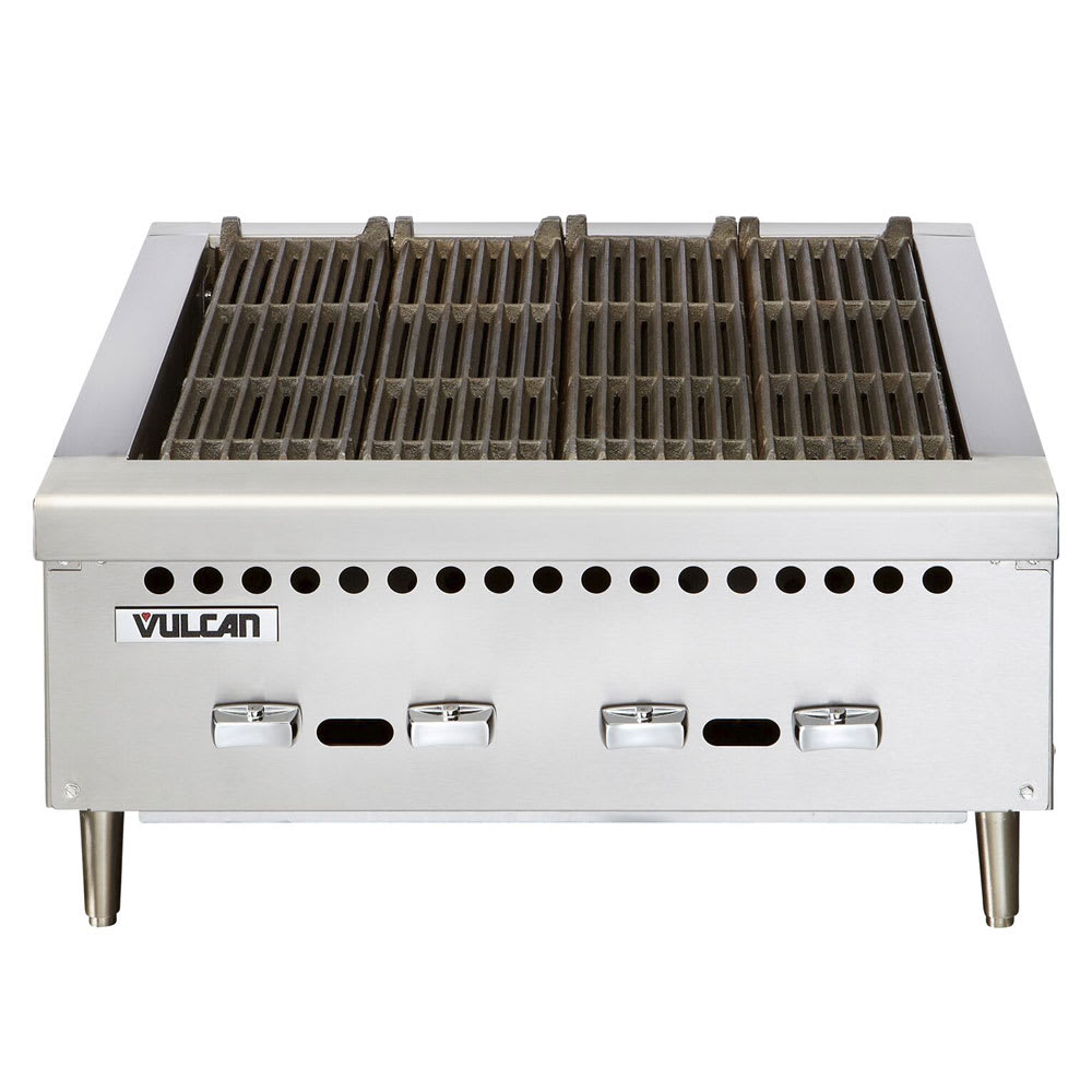 "Vulcan VCRB25 25.375"" Charbroiler, Countertop w/ 4 Cast Iron Burners, NG"