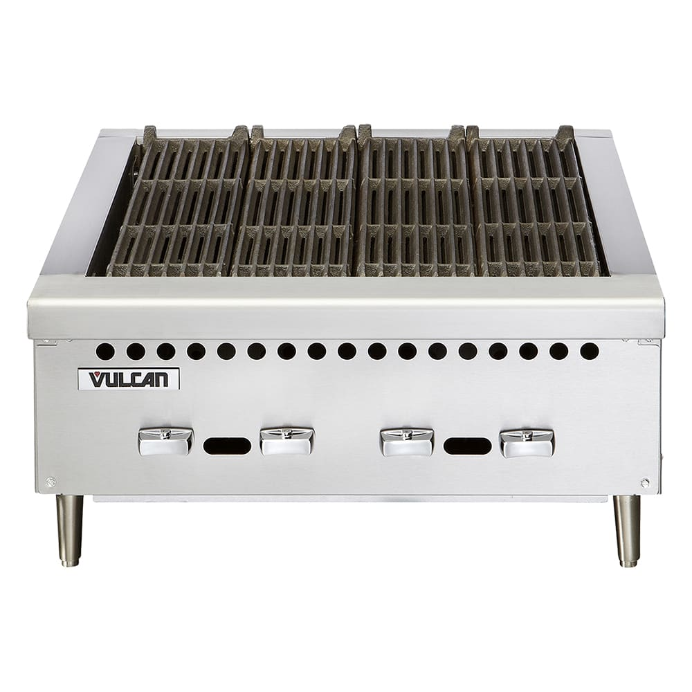 "Vulcan VCRB36 36"" Charbroiler, Countertop w/ 4-Cast Iron Burners, LP"