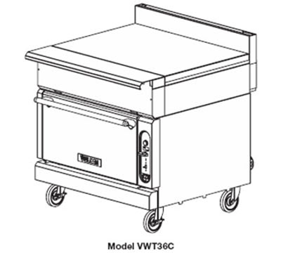 "Vulcan VWT36C 36"" Heavy Duty Range, Work Top, Convection Oven, LP"