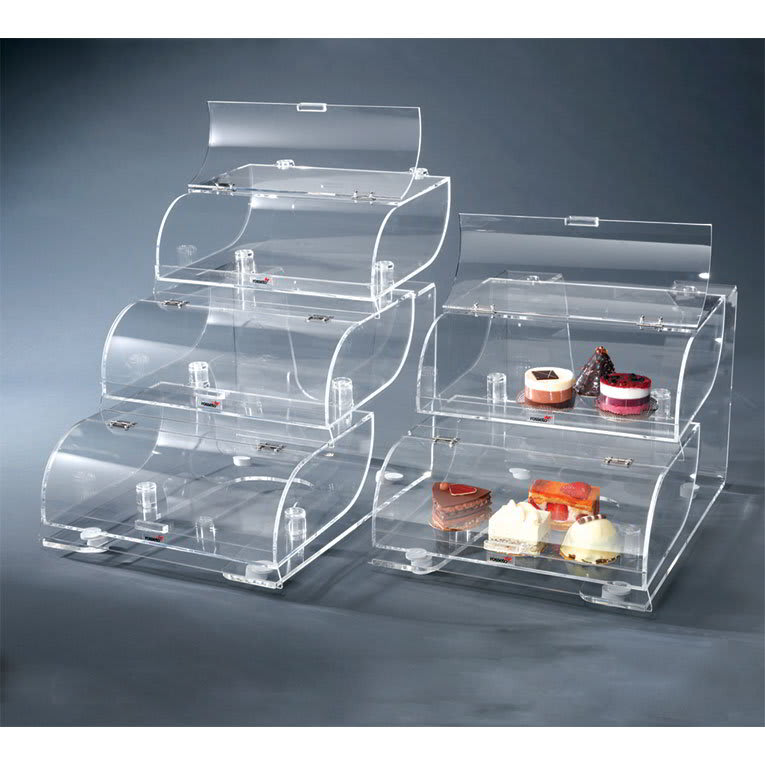 "Rosseto BAK1210 3-Tier Countertop Bakery Display Case - 19x15x22"" Acrylic, Clear"