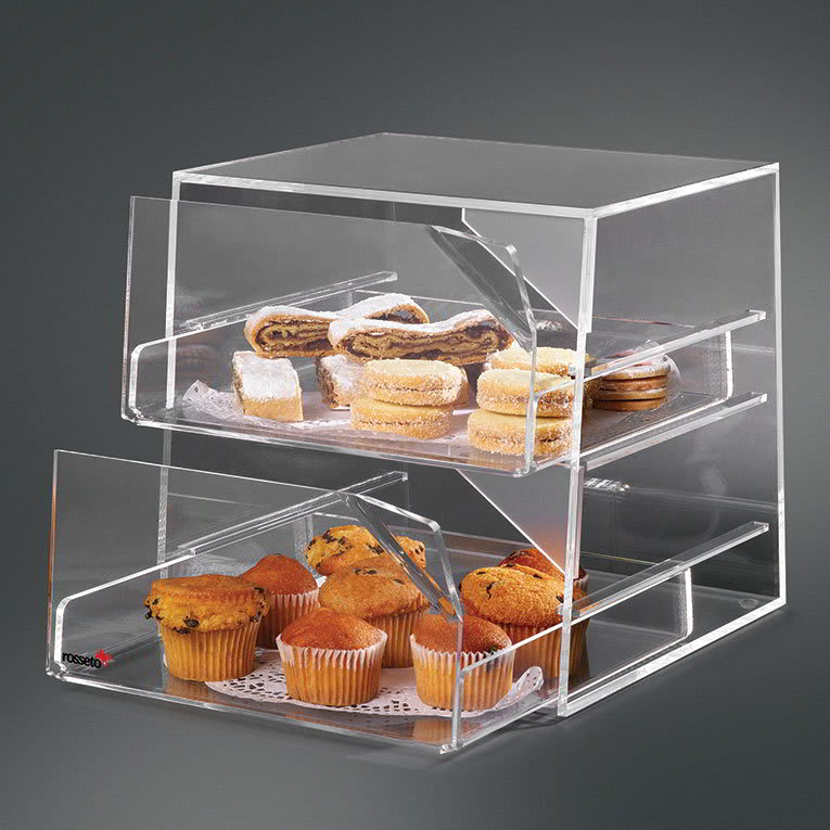 "Rosseto BAK2231 2 Drawer Countertop Bakery Display Case - 10x11x12"" Acrylic, Clear"