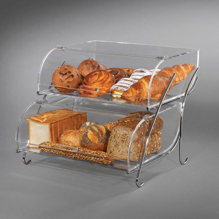"""Rosseto BAK2937 2 Tier Countertop Bakery Display Case - Wire Stand, 13 1/2x16x18"""" Acrylic, Clear"""