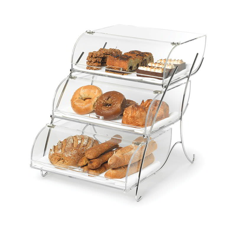 Rosseto Bak2944 3 Tier Countertop Bakery Display Case Wire Stand 19x15x22 Acrylic Clear