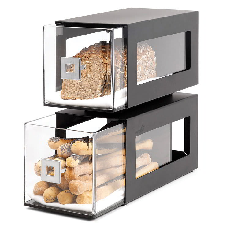 Rosseto BD101 2 Drawer Countertop Bakery Display Case, Acrylic/Stainless, Black