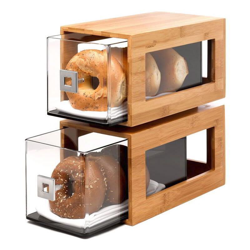 Rosseto BD102 2 Drawer Pastry Display Base - Acrylic/Bamboo
