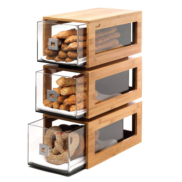 Rosseto BD104 3-Drawer Pastry Display Base - Acrylic/Bamboo