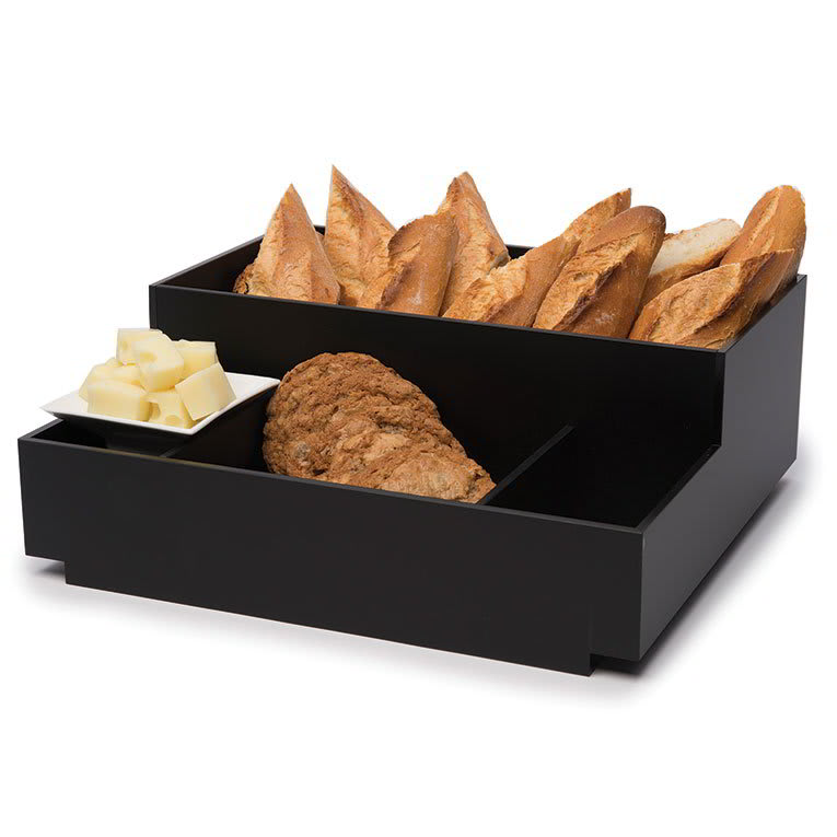 Rosseto BD113 Condiment Tray - 3 Small Compartments, Black Bamboo