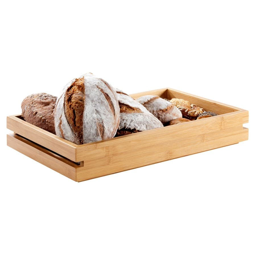 "Rosseto BD135 Rectangular Display Tray - 19.43"" x 12.93"", Bamboo w/ Natural Finish"
