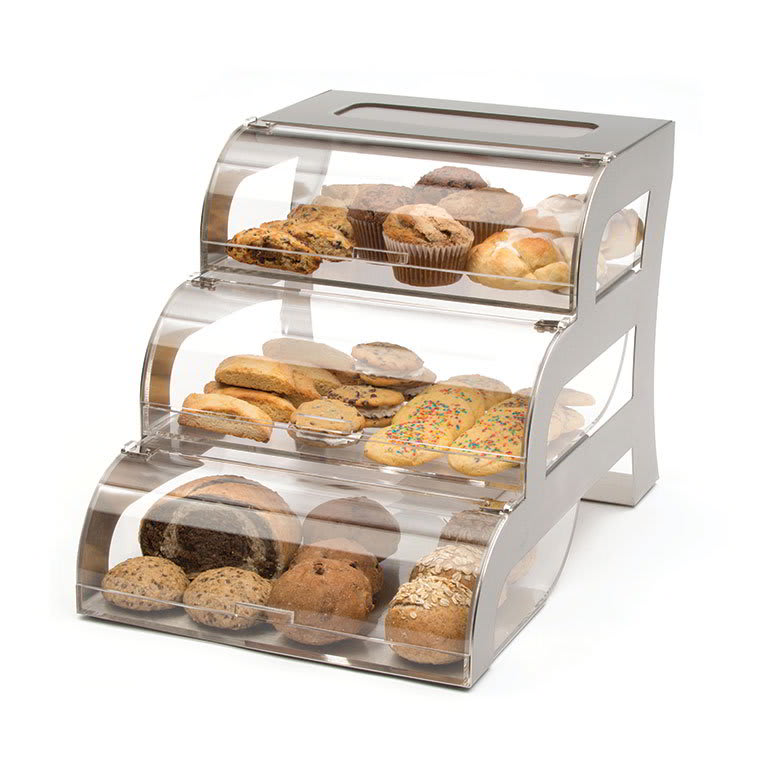 "Rosseto BK010 3 Drawer Bakery Stand - 15 1/4x23 1/4x15 1/2"" Acrylic/Stainless"