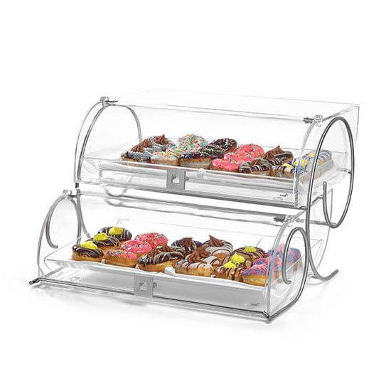 "Rosseto BK012 2-Tier Countertop Bakery Display Case w/ Lift-Up Doors - 12.75"" x 23"" x 14"", Acrylic, Clear"