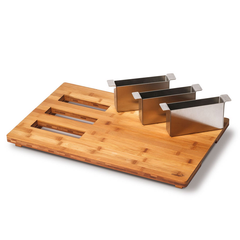 "Rosseto BP002 Serving Board w/ Cutlery Organizers - 21.57"" x 13.57"", Bamboo"