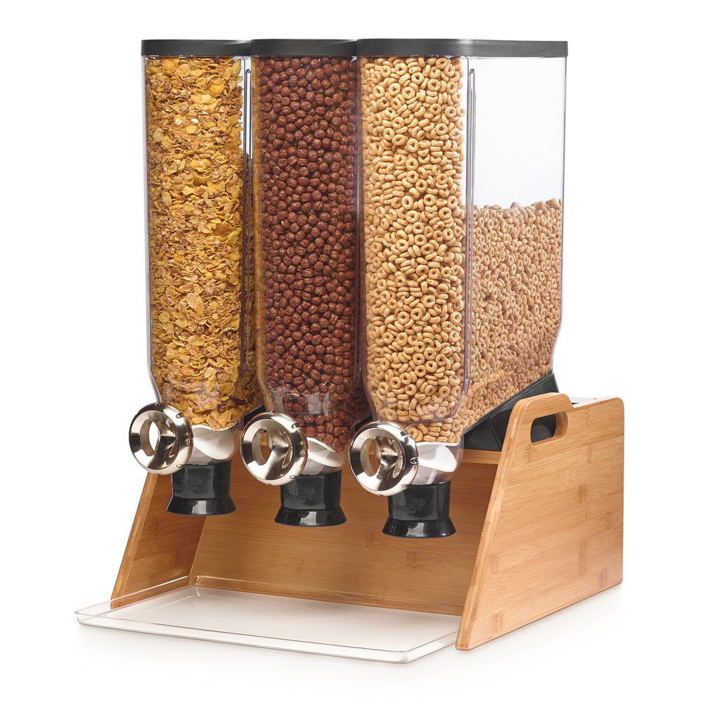 Rosseto DS102 Candy Dispenser w/ (3) 3.5 gal Containers, Bamboo Stand