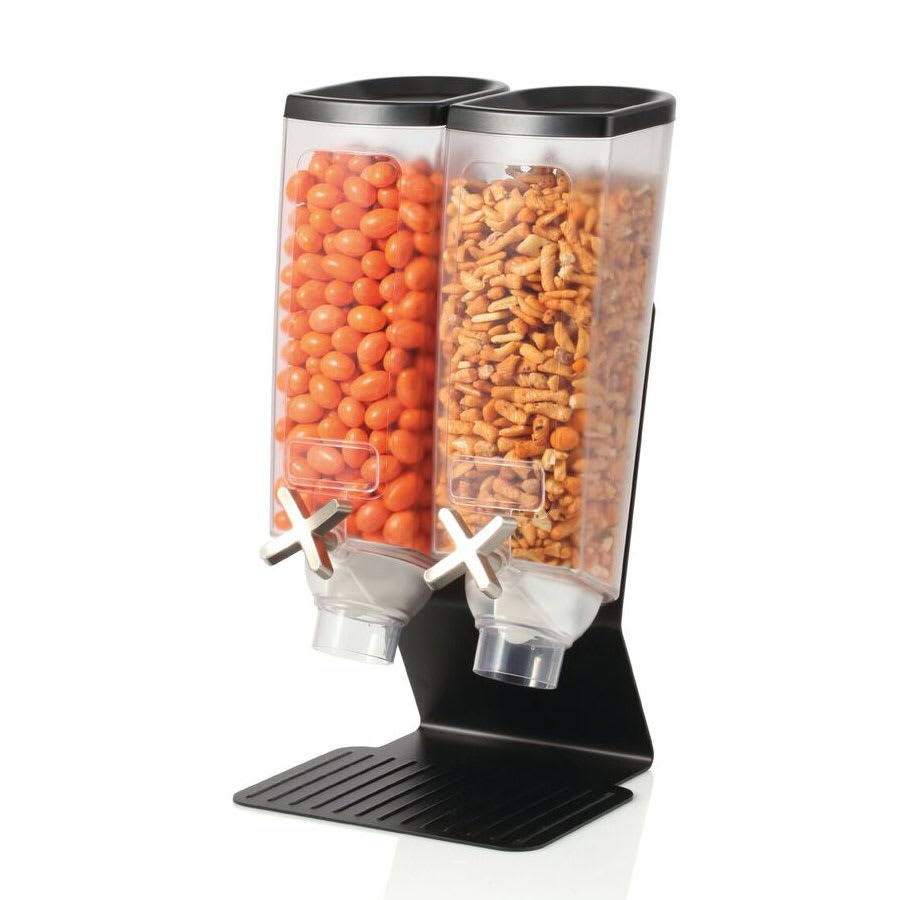 Rosseto EZ50299 Double 1 gal Dry Product Dispenser with Stand - 2 gal Capacity, Clear/Black
