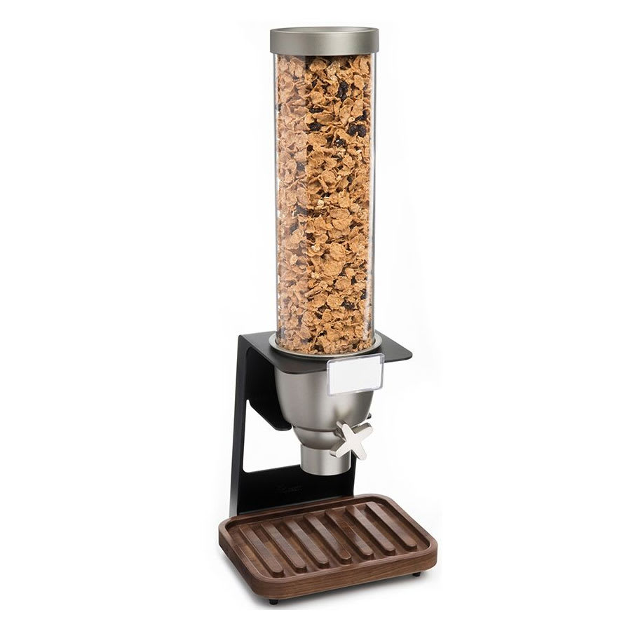 Rosseto EZ518 1 gal Dry Product Dispenser with Black Stand - Walnut Tray, Clear