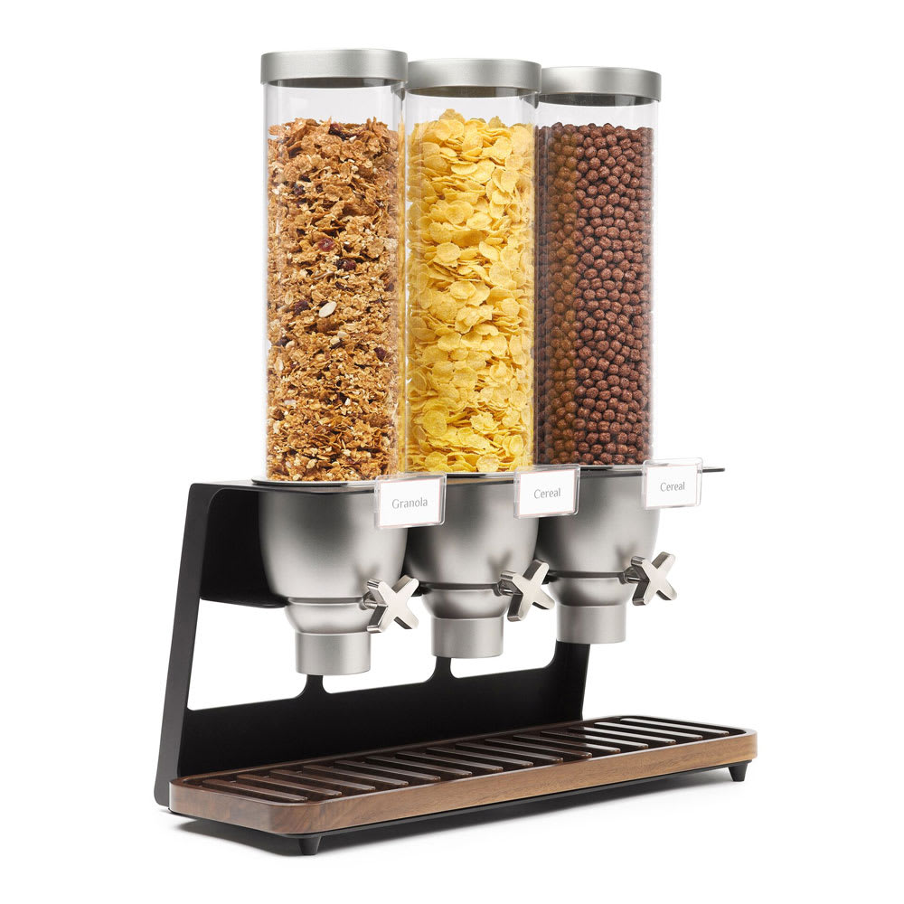 Rosseto EZ520 Triple 1-gal Dry Product Dispenser with Black Stand - Walnut Tray, Clear