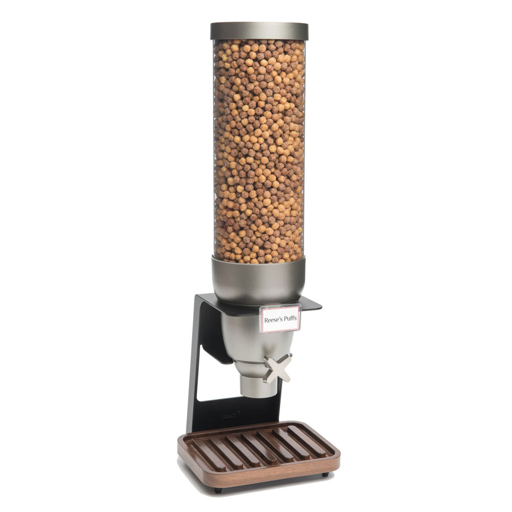 Rosseto EZ529 2 gal Dry Product Dispenser with Black Stand - Walnut Tray, Clear