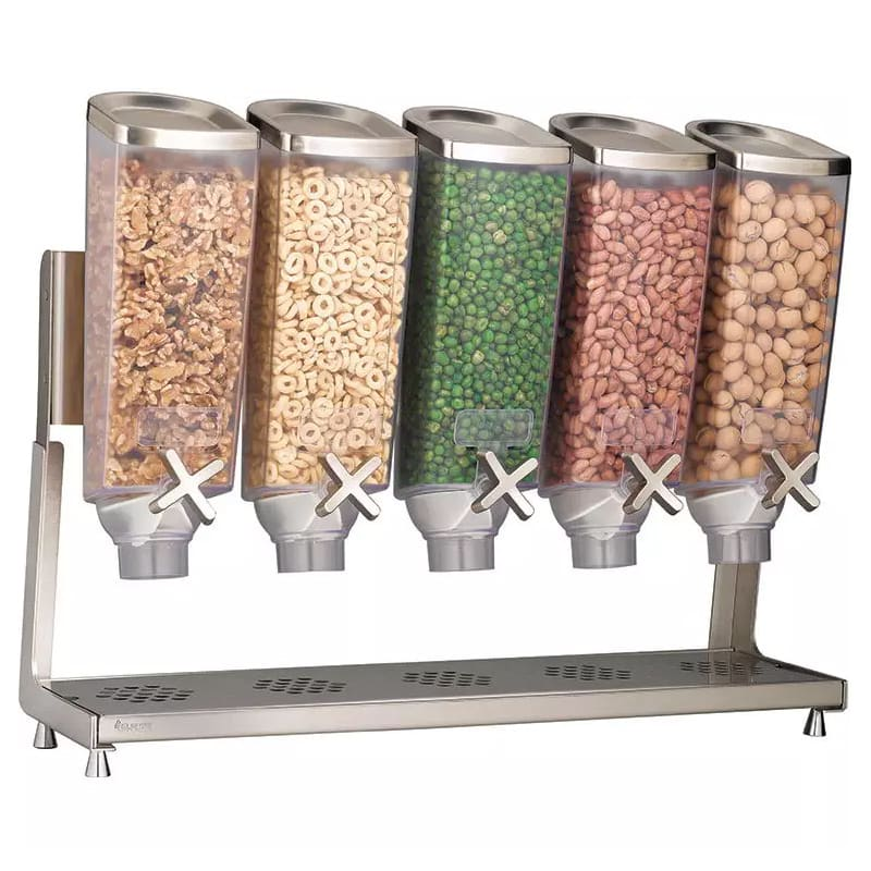 Rosseto EZP2883 Dry Product Dispenser with Stand - (5)1 gal Capacity, Clear/Stainless