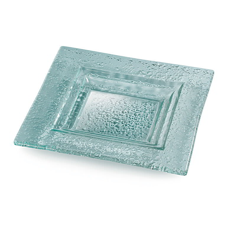 "Rosseto GSP10 10 1/2"" Glass Square Serving Platter - Green"