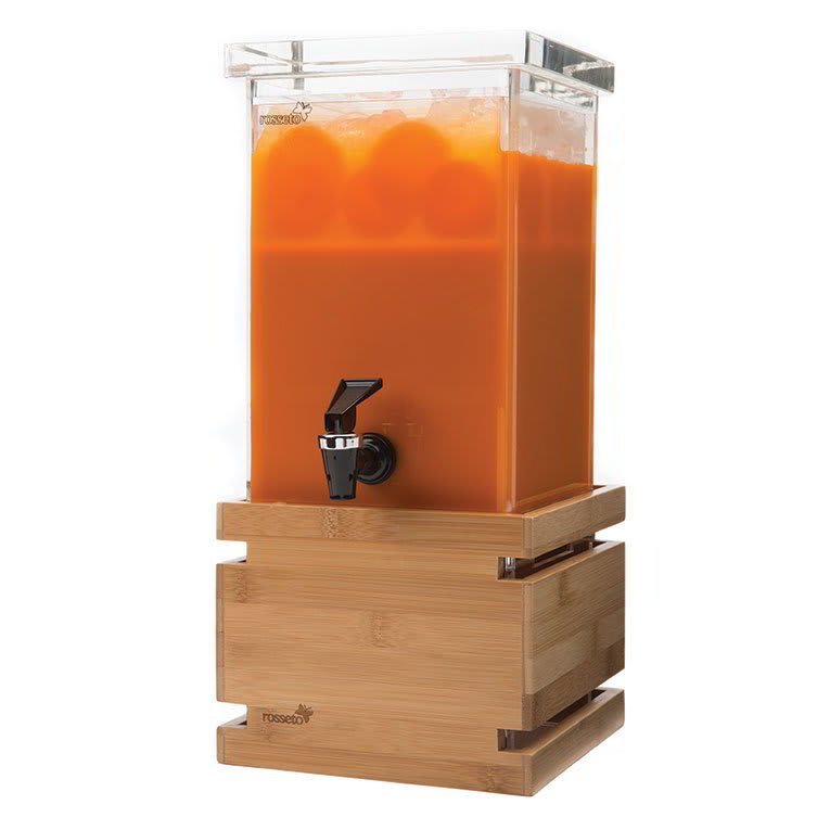 Rosseto LD116 1-gal Rectangular Beverage Dispenser - Bamboo Base