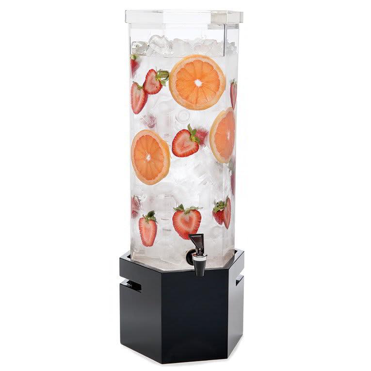 Rosseto LD119 2 gal Beverage Dispenser - Ice Basket, Bamboo Base, Black Gloss Finish