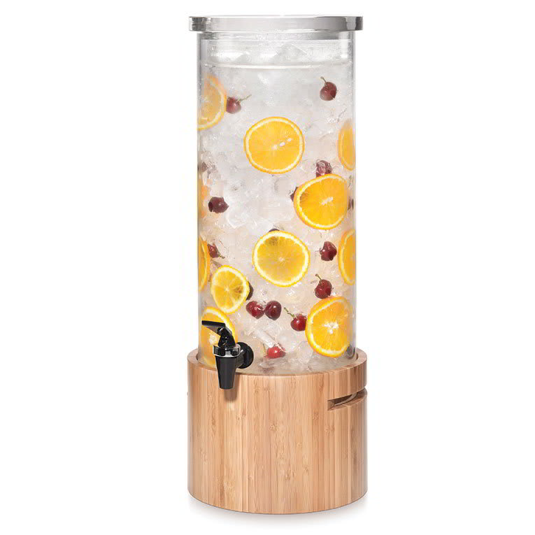 Rosseto LD126 3 gal Round Beverage Dispenser - Ice Basket, Bamboo Base