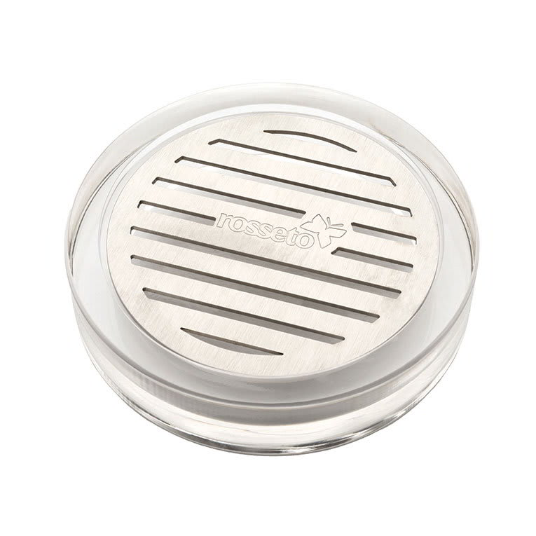 """Rosseto LD127 4 1/4"""" Round Acrylic Drip Tray with Stainless Insert"""