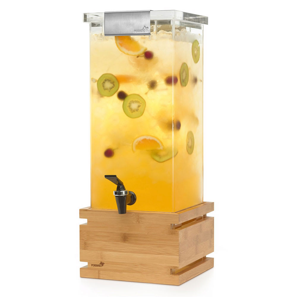 "Rosseto LD147 3 gal Square Beverage Dispenser - 9.8"" x 17.6"", Stainless/Bamboo"