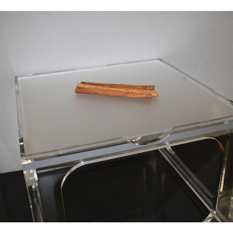 """Rosseto LFL0206 13-1/4"""" Square Serving Tray - Frosted Acrylic"""